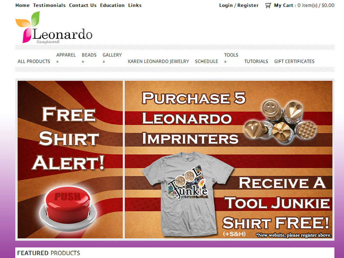 Leonardo Lampwork eCommerce Website