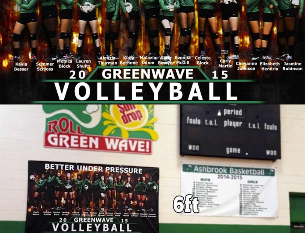 """Better Under Pressure"" Ashbrook Girls Volleyball Vinyl Banner"